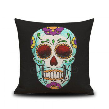 Halloween Colorful Skull Head Drawing Linen Decorative Throw Pillow Case Cushion Cover - COLORMIX COLORMIX