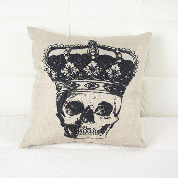 Halloween Crown Skull Head Drawing Linen Decorative Throw Pillow Case Cushion Cover - COLORMIX COLORMIX