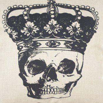 Halloween Crown Skull Head Drawing Linen Decorative Throw Pillow Case Cushion Cover - COLORMIX