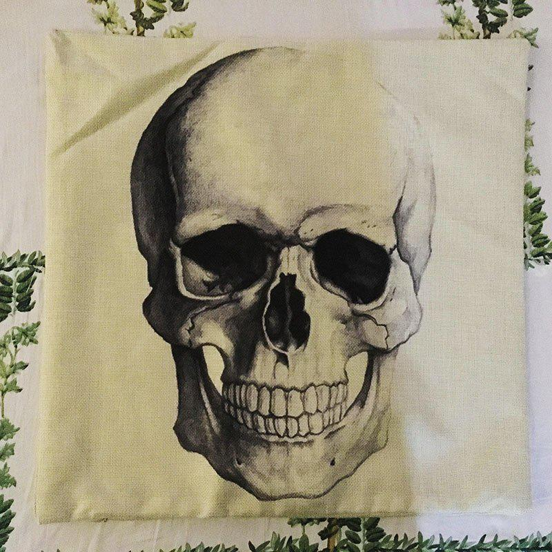Halloween Skull Head Sketch Linen Decorative Throw Pillow Case Cushion Cover - COLORMIX