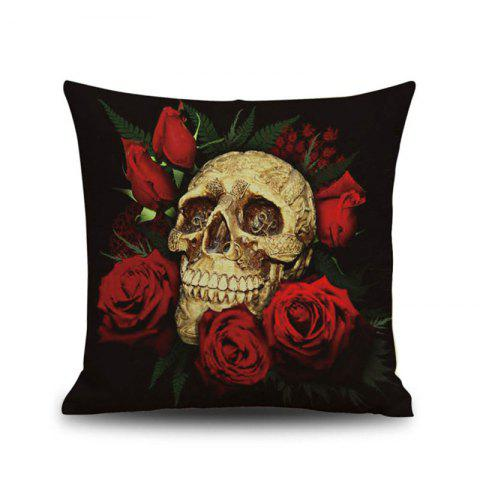 Halloween Rose skull Head Linen Decorative Throw Pillow Case Cushion Cover - COLORMIX