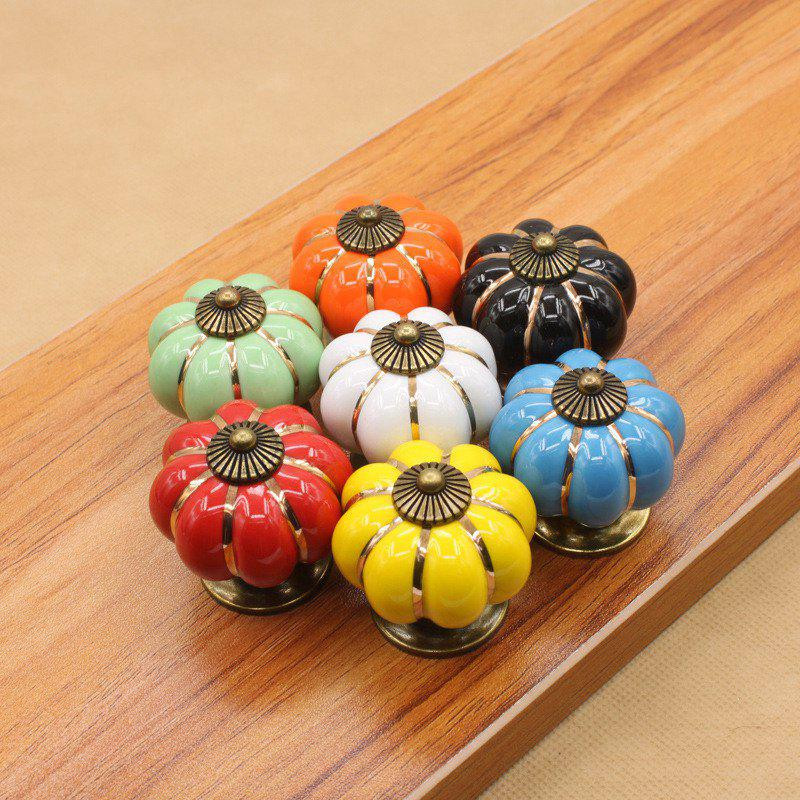 Vintage Furniture Handle Pumpkin Ceramic Door Cabinet Knobs And Handles for Drawer Cupboard Kitchen - multicolor