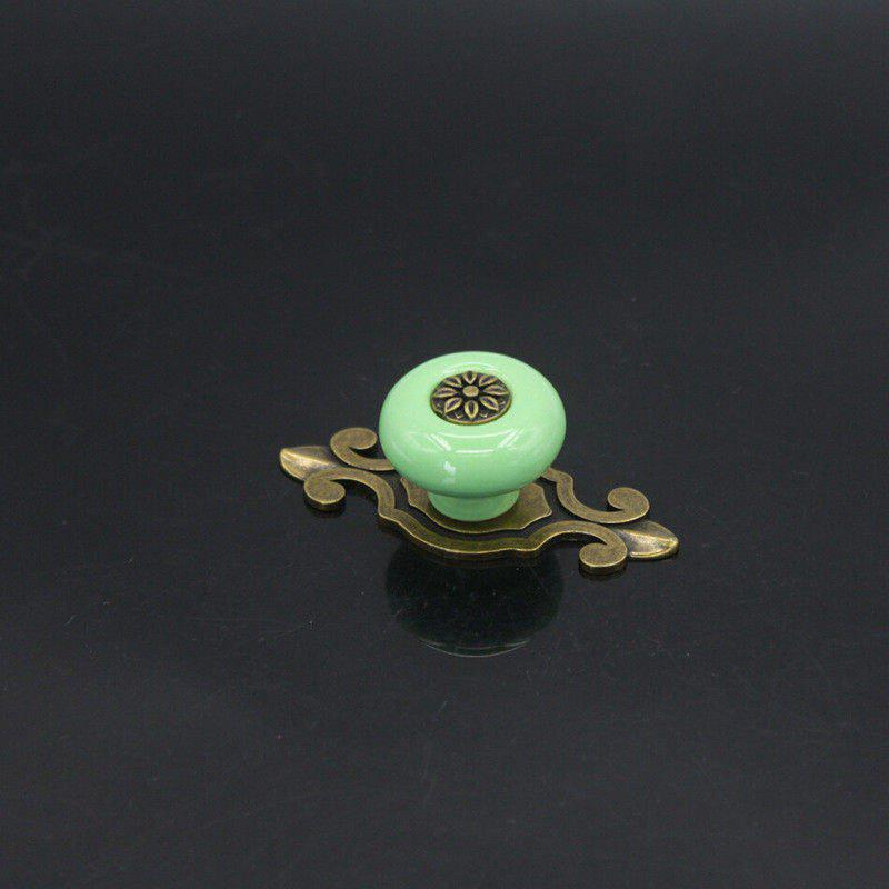 Zinc Alloy Cabinet Door Drawer Ceramic Antique Copper Color Handle Single Hole European Style - FERN