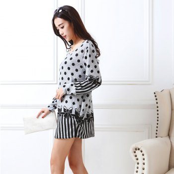 Womens Tshirt Dress Off Shoulder Long Sleeve Floral Plus Size Loose Dress - GRAY GRAY