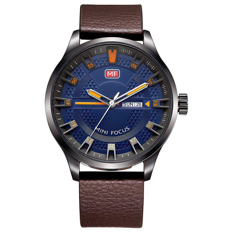 MINI FOCUS Mf0028G 4289 Fashion Calendar Display Men Watch - BROWN / BLUE