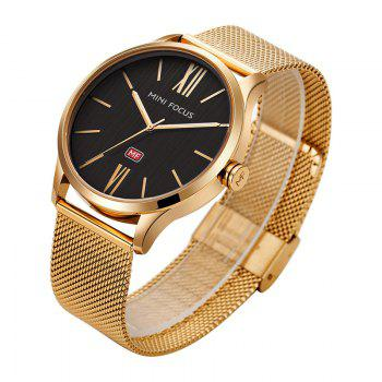 MINI FOCUS Mf0018G 4316 Fashion Steel Band Men Watch - GOLDEN