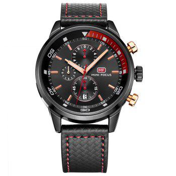 MINI FOCUS Mf0017G 4317 Leisure Pin Buckle Men Watch - BLACK BLACK