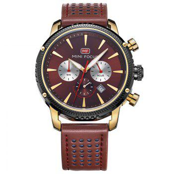MINI FOCUS Mf0010G 4369 Leisure Calendar Display Men Watch - GOLDEN GOLDEN