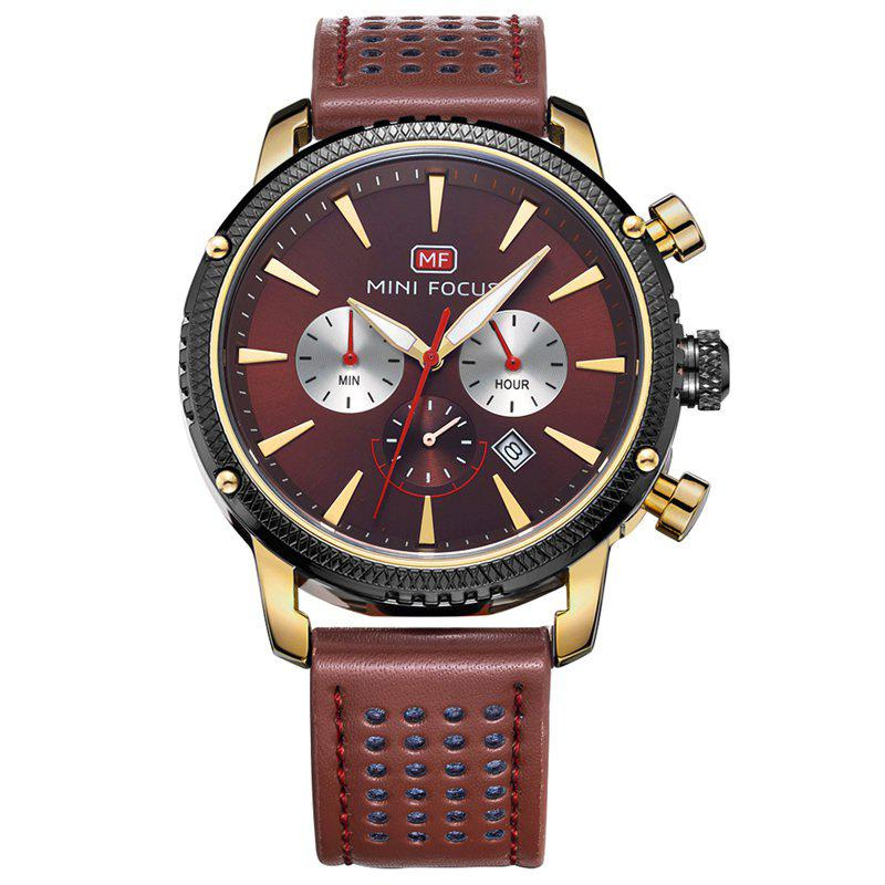 MINI FOCUS Mf0010G 4369 Leisure Calendar Display Men Watch - GOLDEN