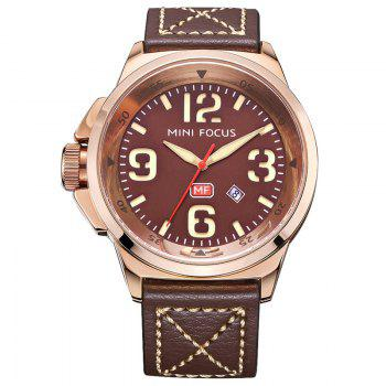MINI FOCUS Mf0004G 4373 Calendar Display Men Watch - COFFEE COFFEE
