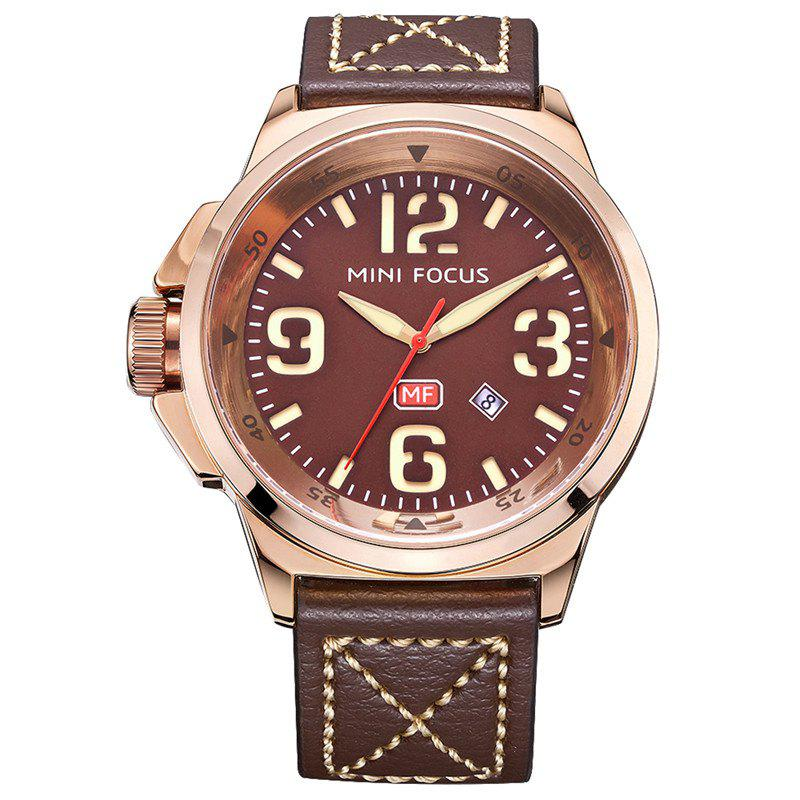 MINI FOCUS Mf0004G 4373 Calendar Display Men Watch - COFFEE