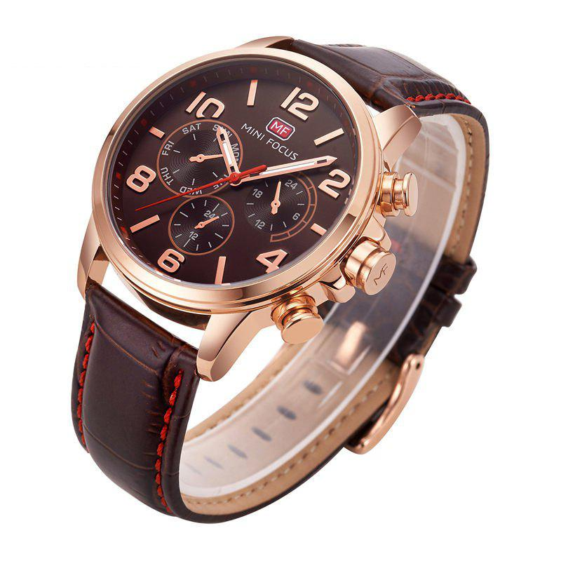 MINI FOCUS Mf0001G-05 4375 Business Dial Decor Montre Homme - café