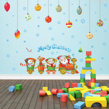 Creative Santa Claus Train Christmas Decoration Window Wall Stickers - COLORFUL COLORFUL