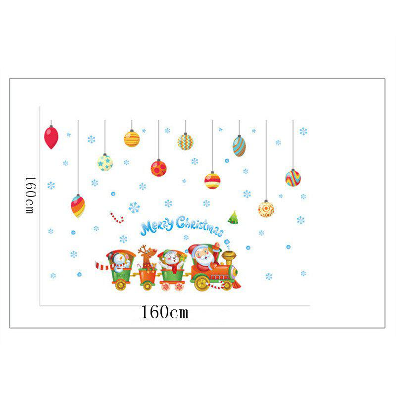 Creative Santa Claus Train Christmas Decoration Window Wall Stickers - COLORFUL