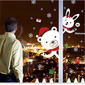 Creative Christmas Bear Rabbit Decoration Window Wall Stickers - COLORFUL
