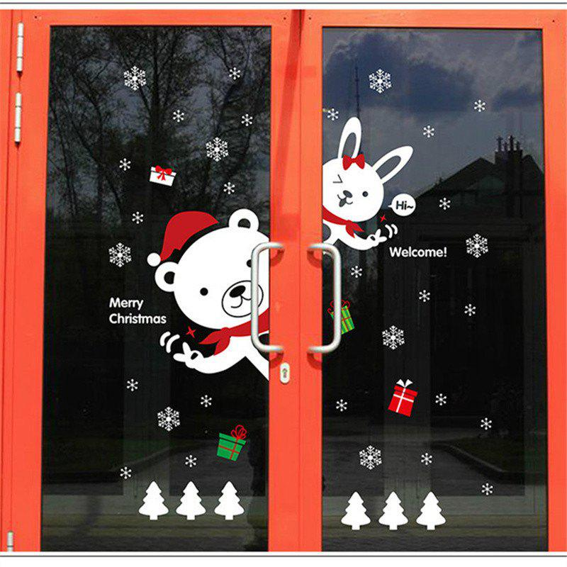 Creative Christmas Bear Rabbit Decoration Window Wall Stickers - Coloré