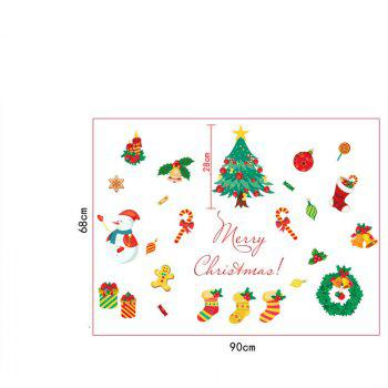 Christmas Tree Candy Snow Christmas Decoration Window Wall Stickers - COLORFUL