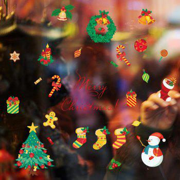 Christmas Tree Candy Snow Christmas Decoration Window Wall Stickers - COLORFUL COLORFUL