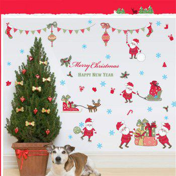 New Style Santa Claus Deer Christmas Decorative Window Wall Stickers - COLORFUL COLORFUL