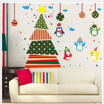 Creative Christmas Tree Penguin Cartoon Decoration Window Wall Stickers - COLORFUL COLORFUL