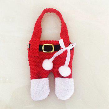 Creative 2PCS Dress Pants Knife And Fork Bags for Christmas Decoration - RED