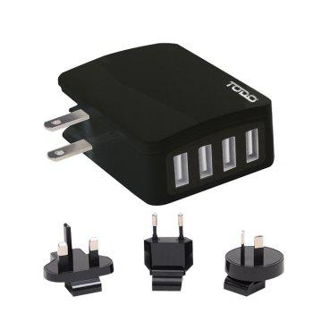 Todo Smart 4 Ports Travel Usb Charger with Universal Adapters - BLACK BLACK