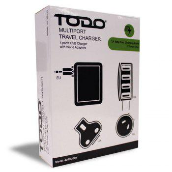 Todo Smart 4 Ports Travel Usb Charger with Universal Adapters - BLACK