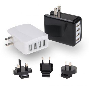 Todo Smart 4 Ports Travel Usb Charger with Universal Adapters -  SNOW WHITE