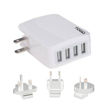 Todo Smart 4 Ports Travel Usb Charger with Universal Adapters - SNOW WHITE SNOW WHITE
