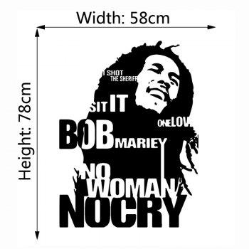 Bob Marley Wall Sticker No Woman No Cry Reggae Jamaica Home Decor - 58X78CM 58X78CM