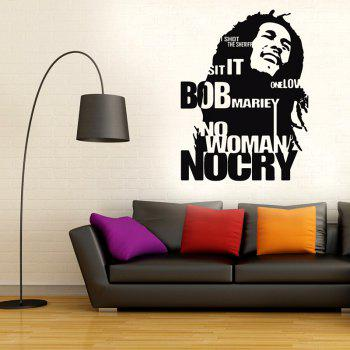 Bob Marley Wall Sticker No Woman No Cry Reggae Jamaica Home Decor - BLACK 58X78CM