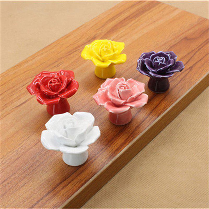 Modern Rose Flower Handles Cabinet Ceramic Knobs Dresser Closet Kids Bedroom Furniture - multicolor
