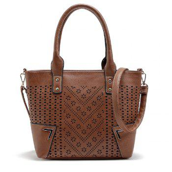 Solid Color Engraving Flower Studs Tote Bag - BROWN BROWN