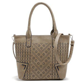 Solid Color Engraving Flower Studs Tote Bag - APRICOT APRICOT