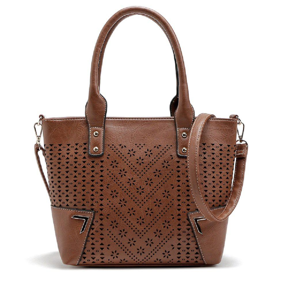 Solid Color Engraving Flower Studs Tote Bag - BROWN 1PC