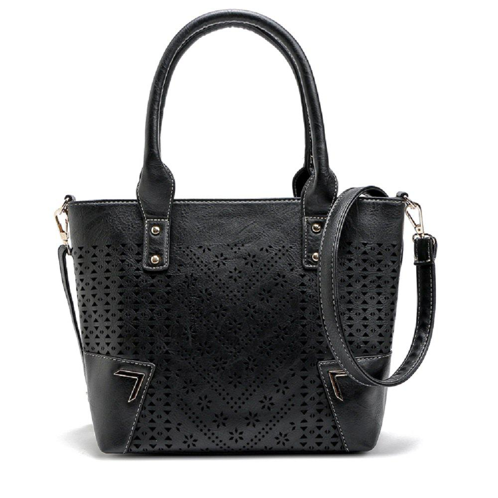 Solid Color Engraving Flower Studs Tote Bag - BLACK 1PC