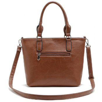 Buckle Solid Color Studs Tote Bag - BROWN 1PC