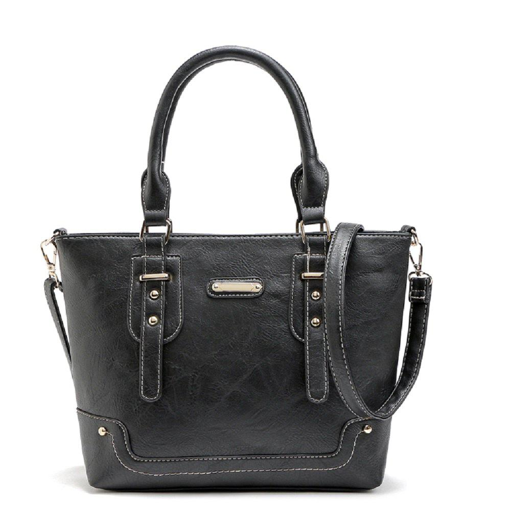 Buckle Solid Color Studs Tote Bag - BLACK 1PC