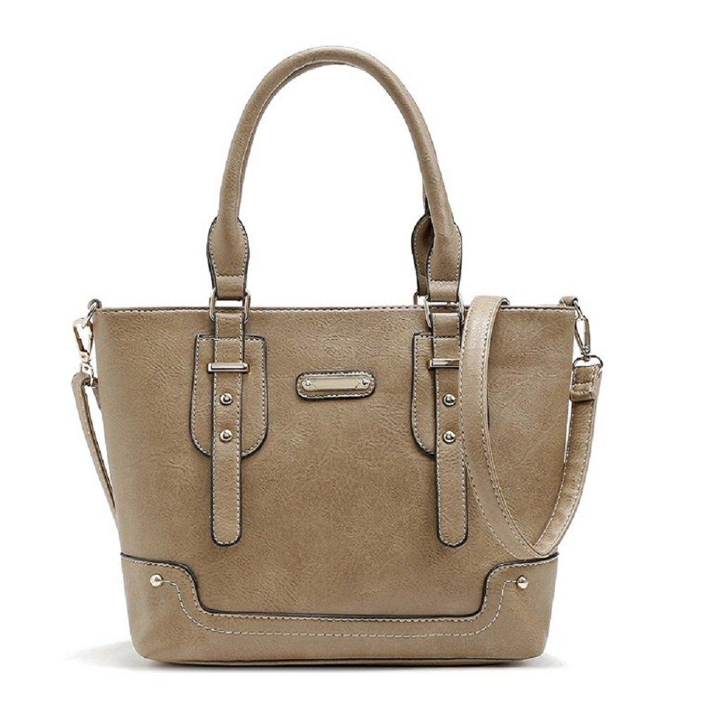 Buckle Solid Color Studs Tote Bag - APRICOT 1PC