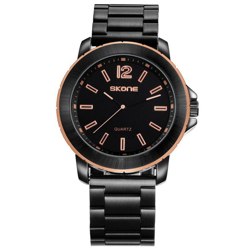 Skone 7424G 1098 Casual Steel Band Men Watch - BLACK