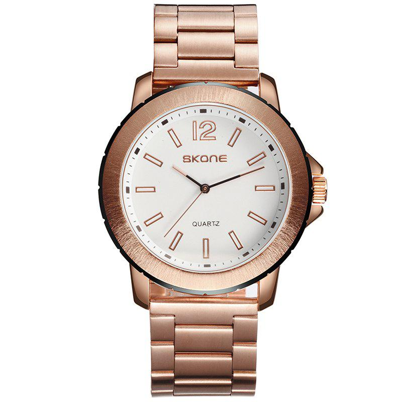 Skone 7424G 1098 Casual Steel Band Montre Homme - Or Rose