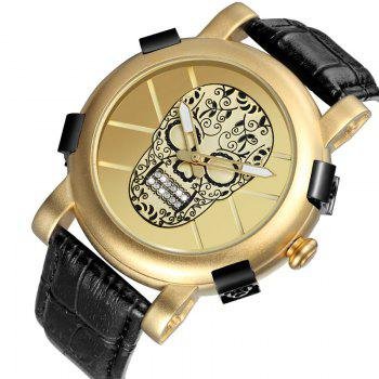 Skone 9479G 1099 Leisure Luminous Needle Men Watch - GOLDEN