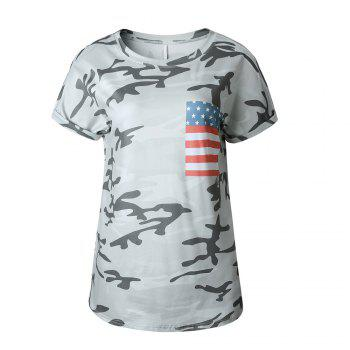 Camouflage Round Collar T-Shirt - CAMOUFLAGE L