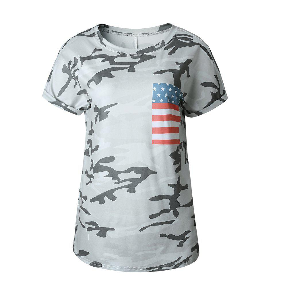 Camouflage Round Collar T-Shirt - CAMOUFLAGE S