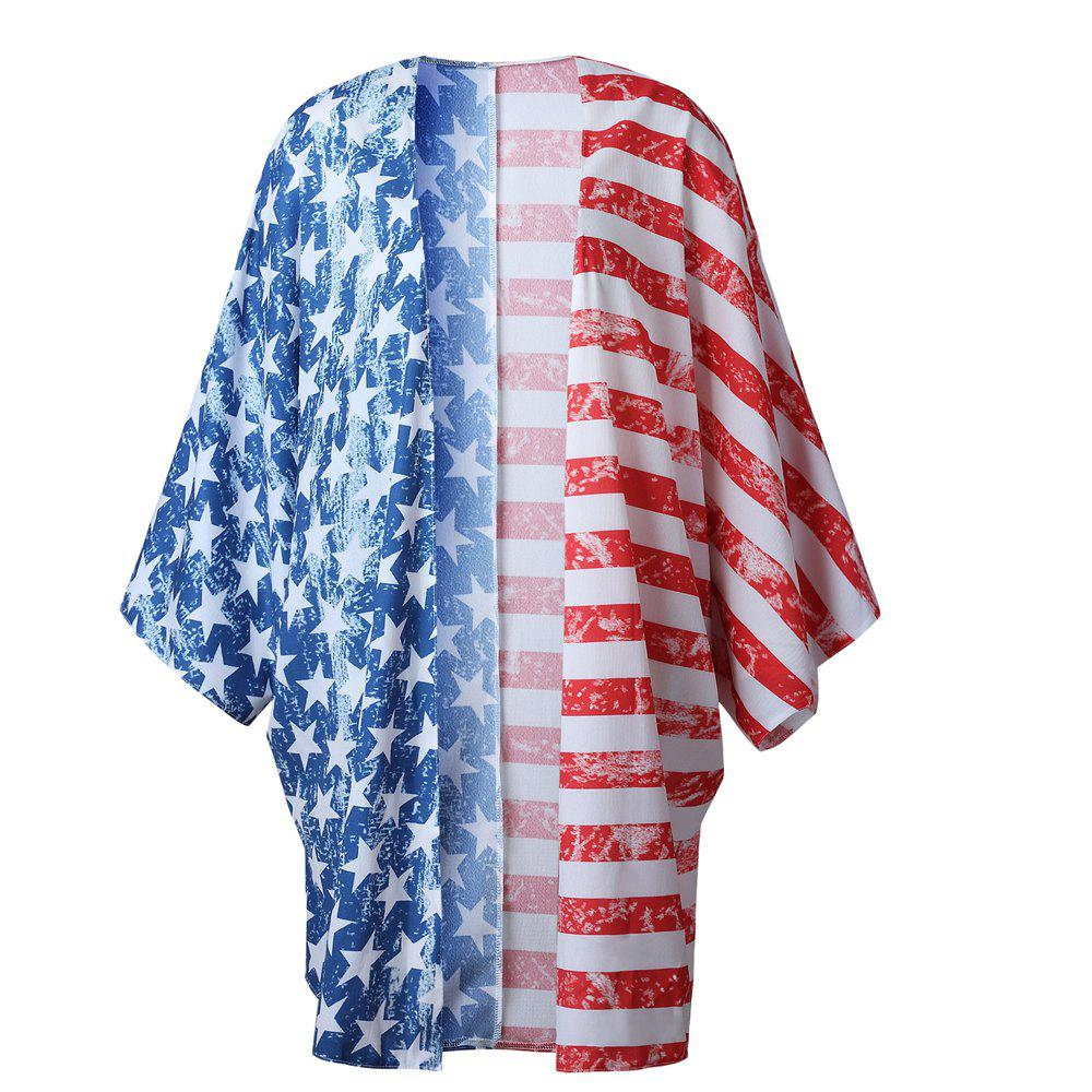 Printing National Flag Long Cardigan - HIT COLOR ONE SIZE