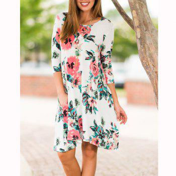 Floral Print Long Sleeve Round Neck Dress - WHITE M