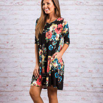 Floral Print Long Sleeve Round Neck Dress - BLACK S