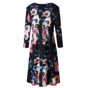 Floral Print Long Sleeve Round Neck Dress - S S
