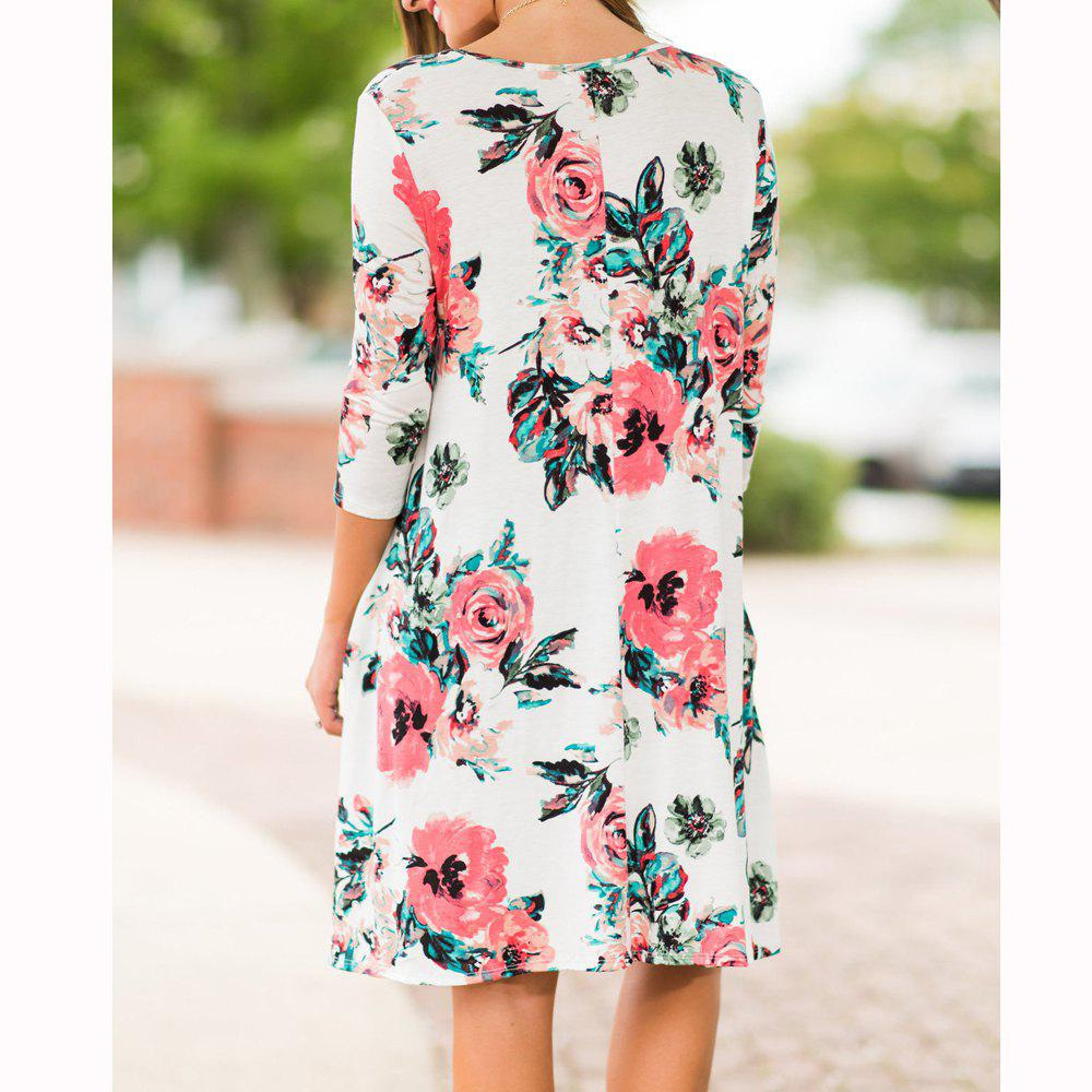 Floral Print Long Sleeve Round Neck Dress - WHITE L