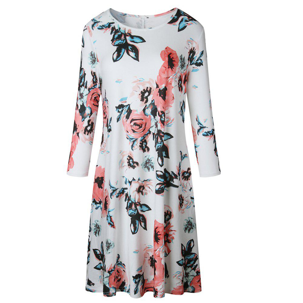 Floral Print Long Sleeve Round Neck Dress - WHITE XL